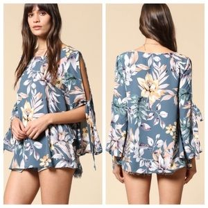 Blue Cold Shoulder Floral 🌸 Tie Sleeve Top